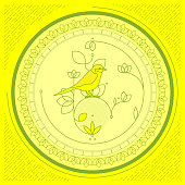 Green spring flower gemetric ornament and bird with line texture on bright yellow background