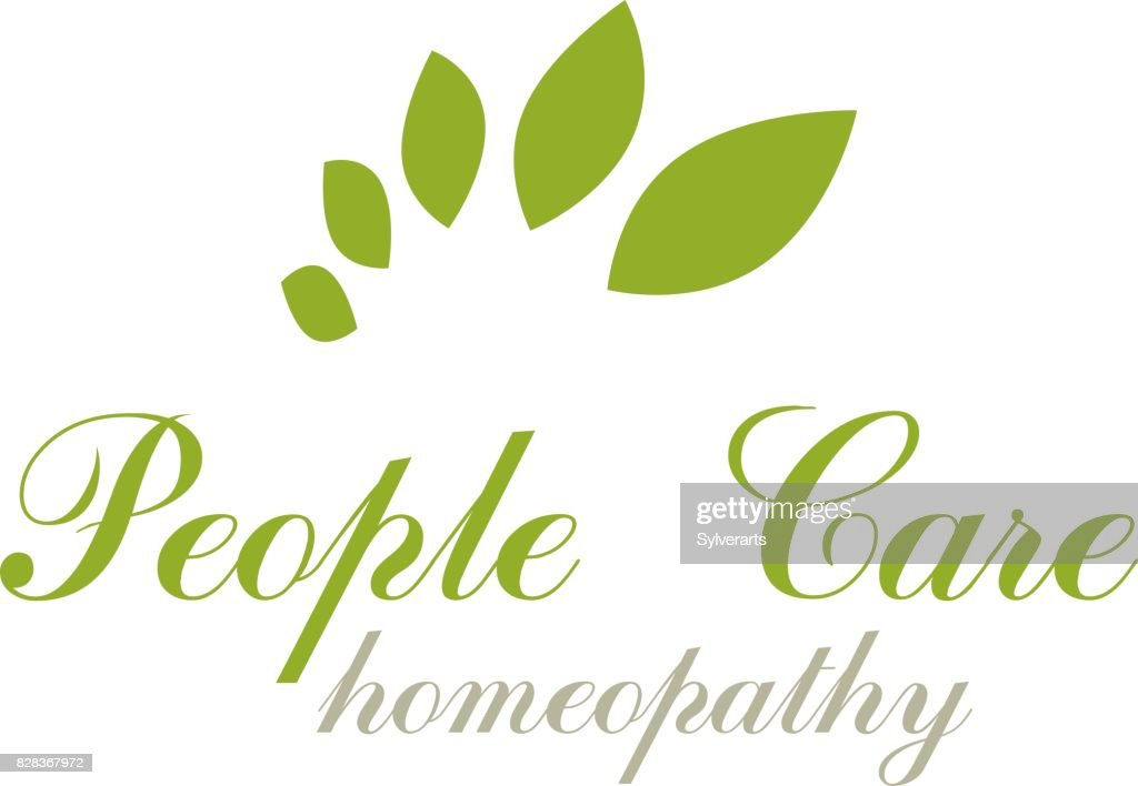 Green spring leaves vector graphic symbol for use in healthcare business. Vegetarian lifestyle conceptual emblem.