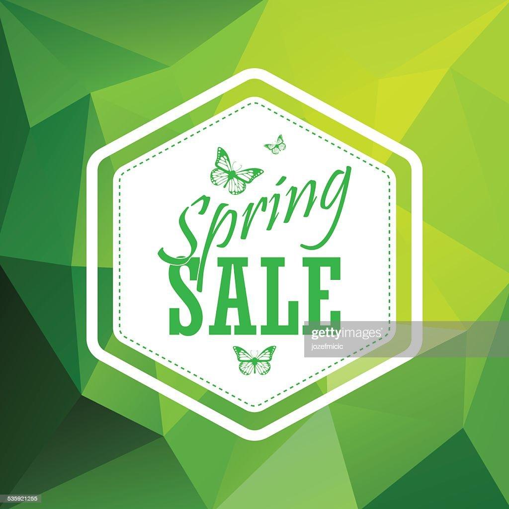Green spring sale low polygonal background with vintage hexagonal badge : Vector Art