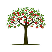 Green spring tree and red apples. Vector Illustration.