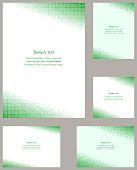 Green square mosaic page corner design templates