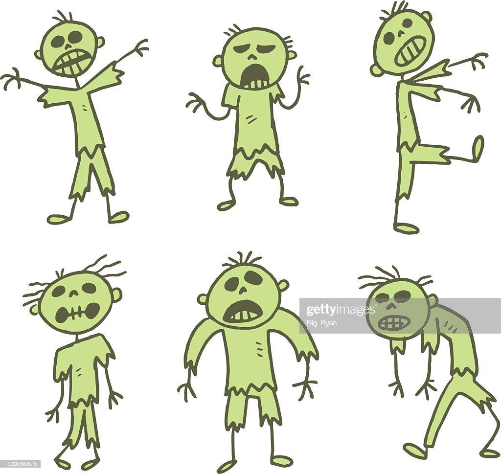 green stick figure zombies : stock illustration