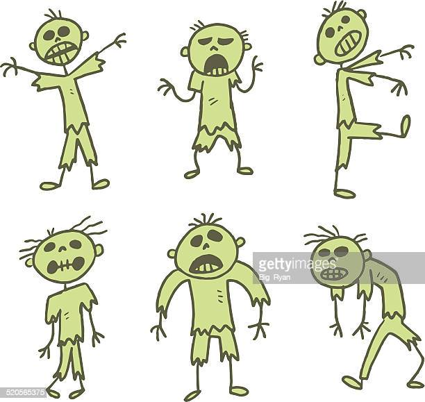 green stick figure zombies - zombie stock illustrations, clip art, cartoons, & icons