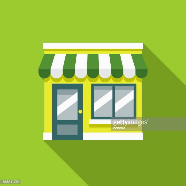 green store flat design environmental icon - small business stock illustrations