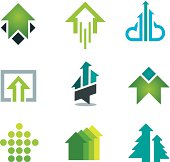 Green success business icons set in motivation economy finance banking