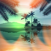 Green summer background with sea and palm trees