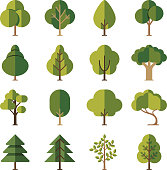 Green summer forest tree flat vector icons
