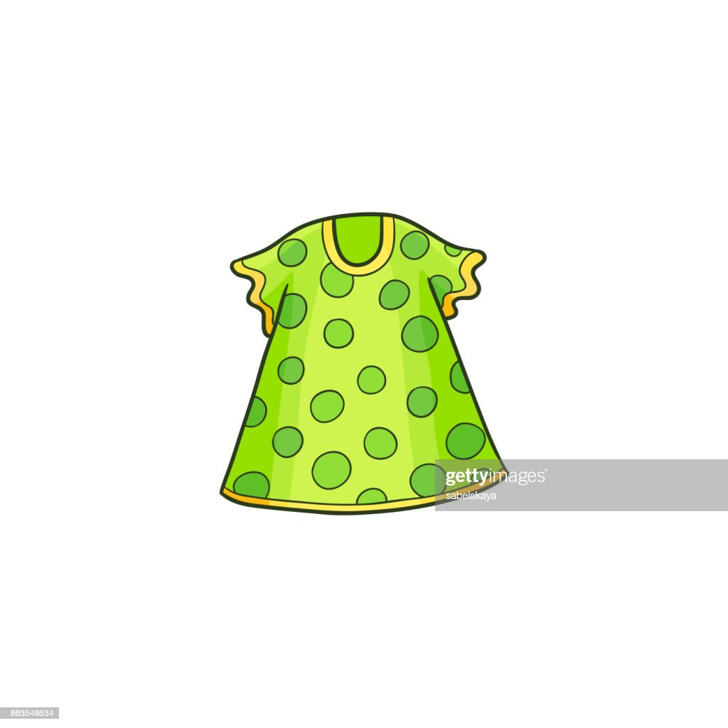 Green summer polka dotted dress for a little girl