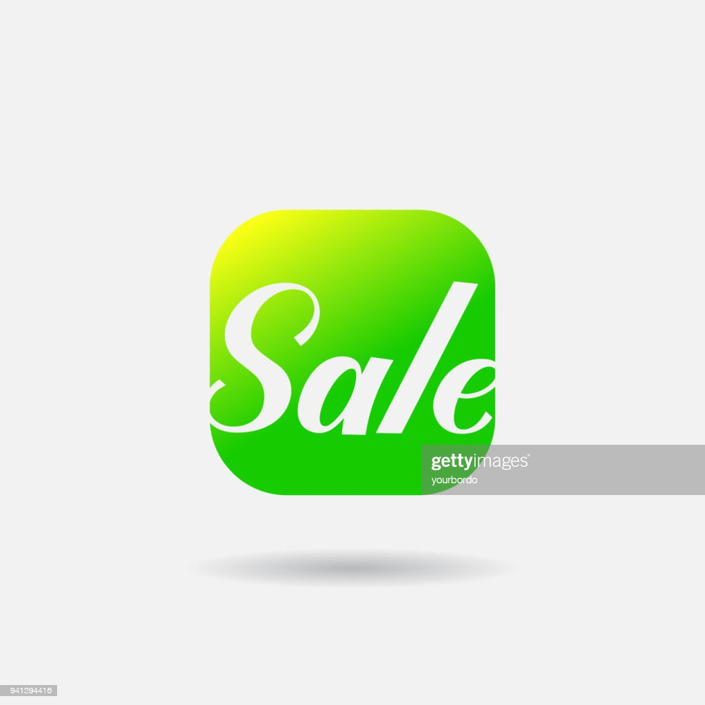 Green summer Sale Flat vector Icon. Word Sale Calligraphy Font. Mobile App online store Vector Icon.