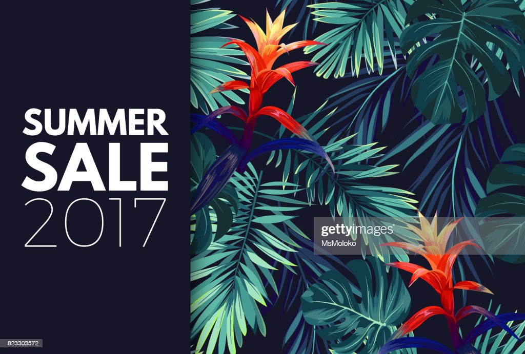 Green summer tropical background with exotic palm leaves and flowers. Vector floral background