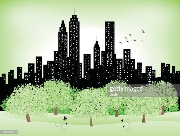 green summer,spring city Skyline silhouette, Park,trees illustration
