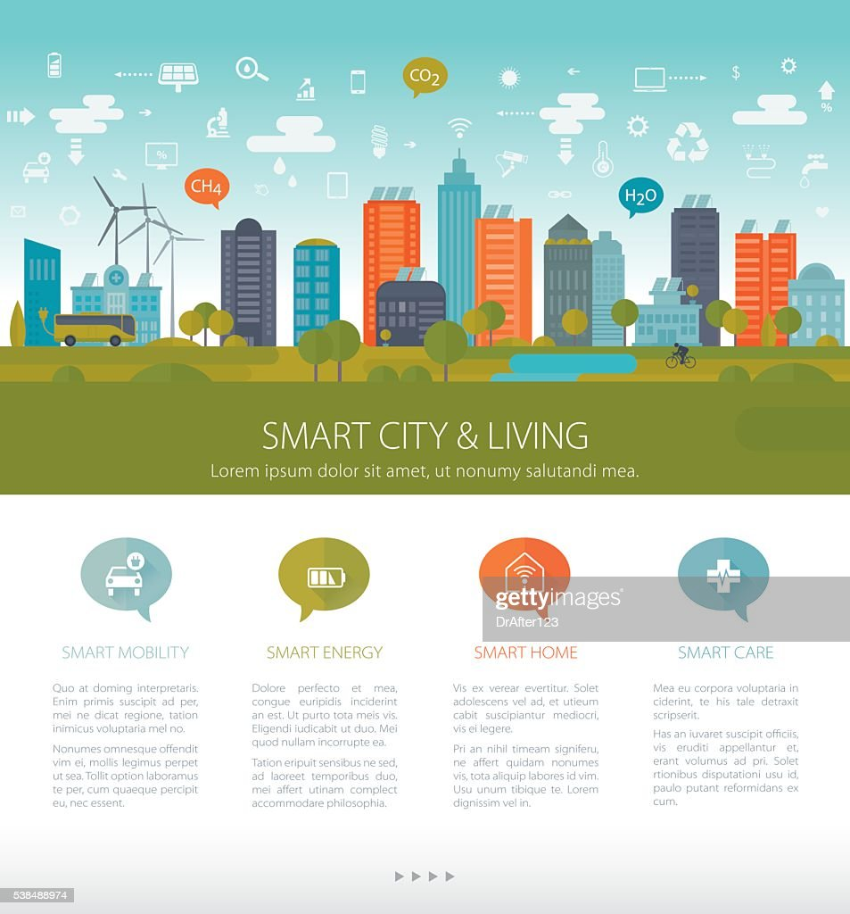 Green Sustainable City Template : Stock Illustration