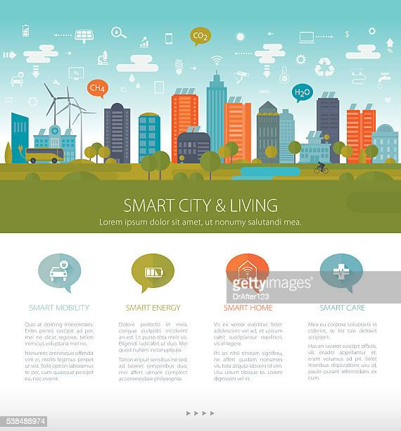 green sustainable city template - cityscape stock illustrations, clip art, cartoons, & icons