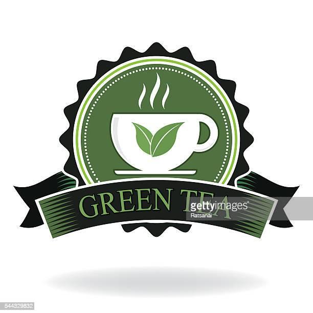 green tea badge - green tea stock illustrations, clip art, cartoons, & icons