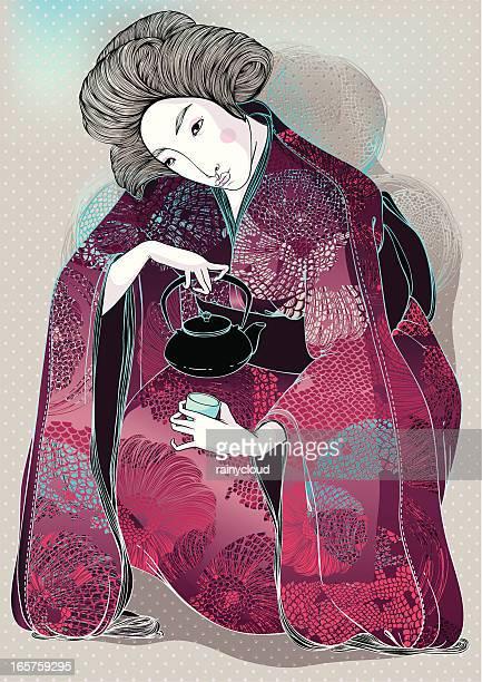 green tea color - geisha stock illustrations, clip art, cartoons, & icons