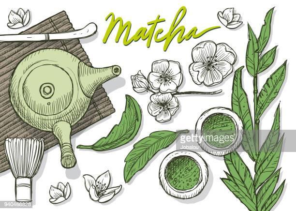 matecha 緑茶日本茶落書き - 代替医療点のイラスト素材/クリップアート素材/マンガ素材/アイコン素材