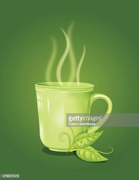 green tea mug with swirly steam on a green background - green tea stock illustrations, clip art, cartoons, & icons