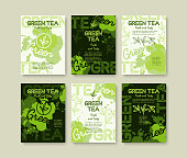 Green tea poster or banners typography design. Creative illustrations with liquid tea splashes