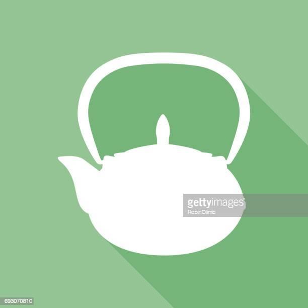 green tea pot icon - steeping stock illustrations, clip art, cartoons, & icons