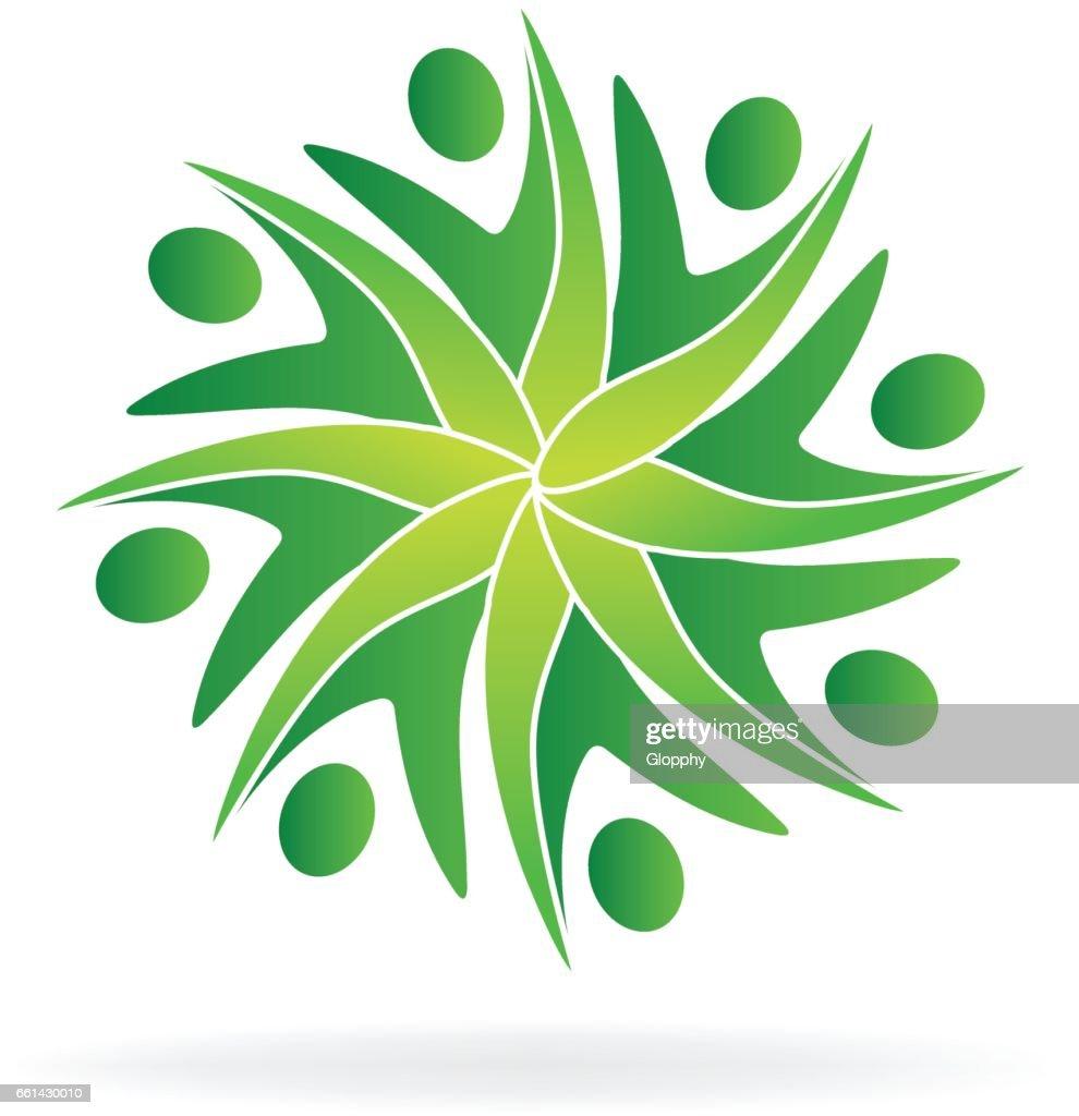 Green teamwork people ecology logo