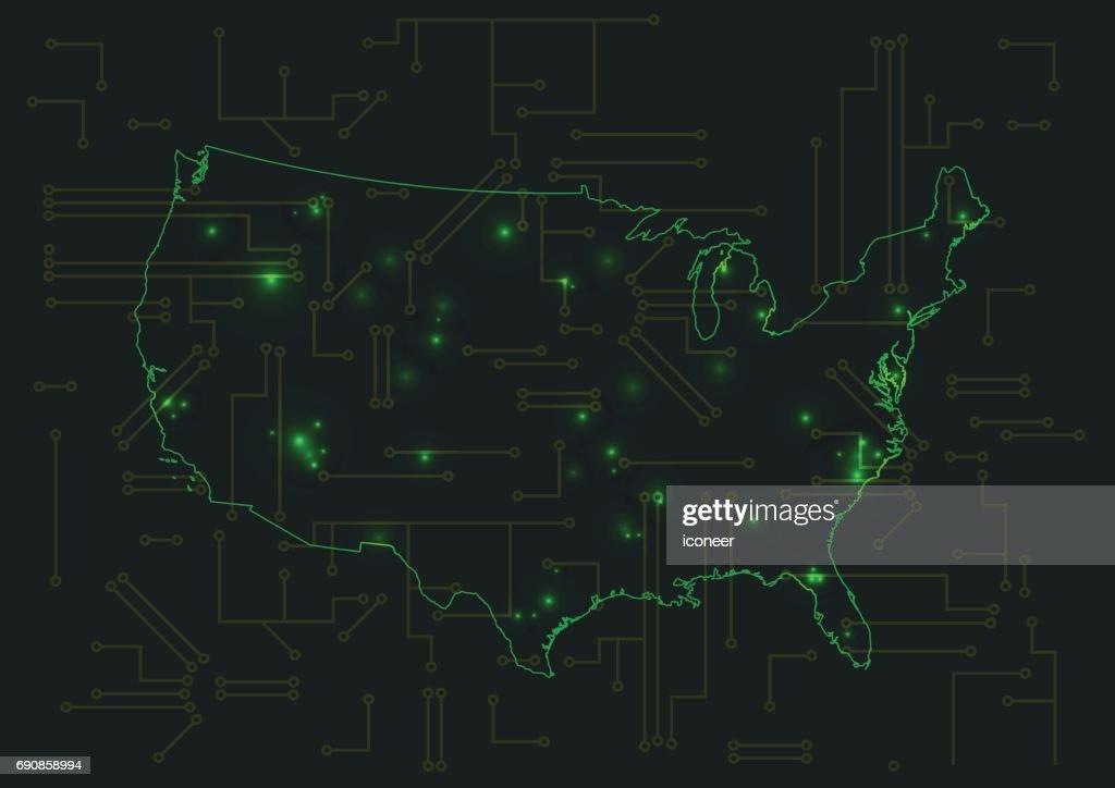 Usagrüne Technologie Karte Blau Auf Schaltung Hintergrund ...