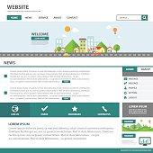 Green Template web flat design for website