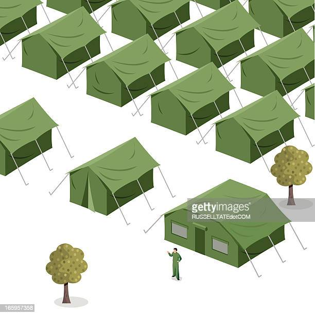 green tents - military stock illustrations, clip art, cartoons, & icons