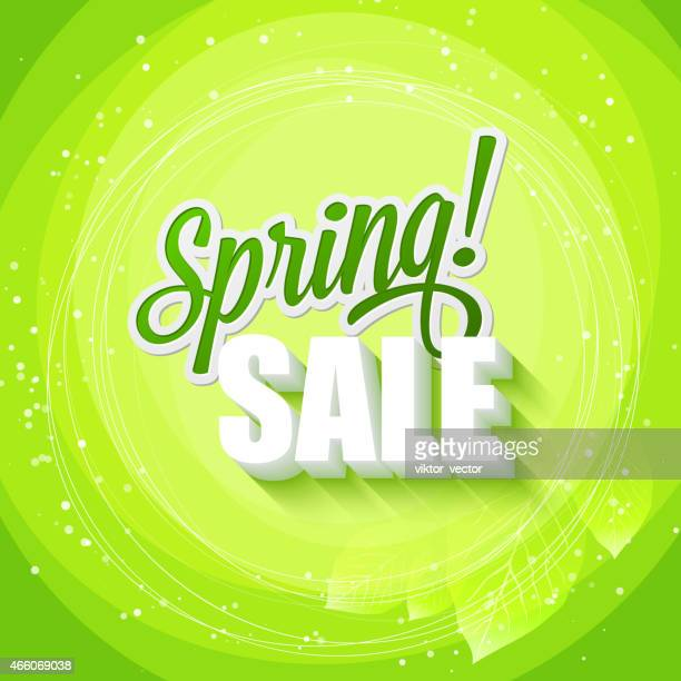 green text art of spring sale on a leafy green background - springtime stock illustrations