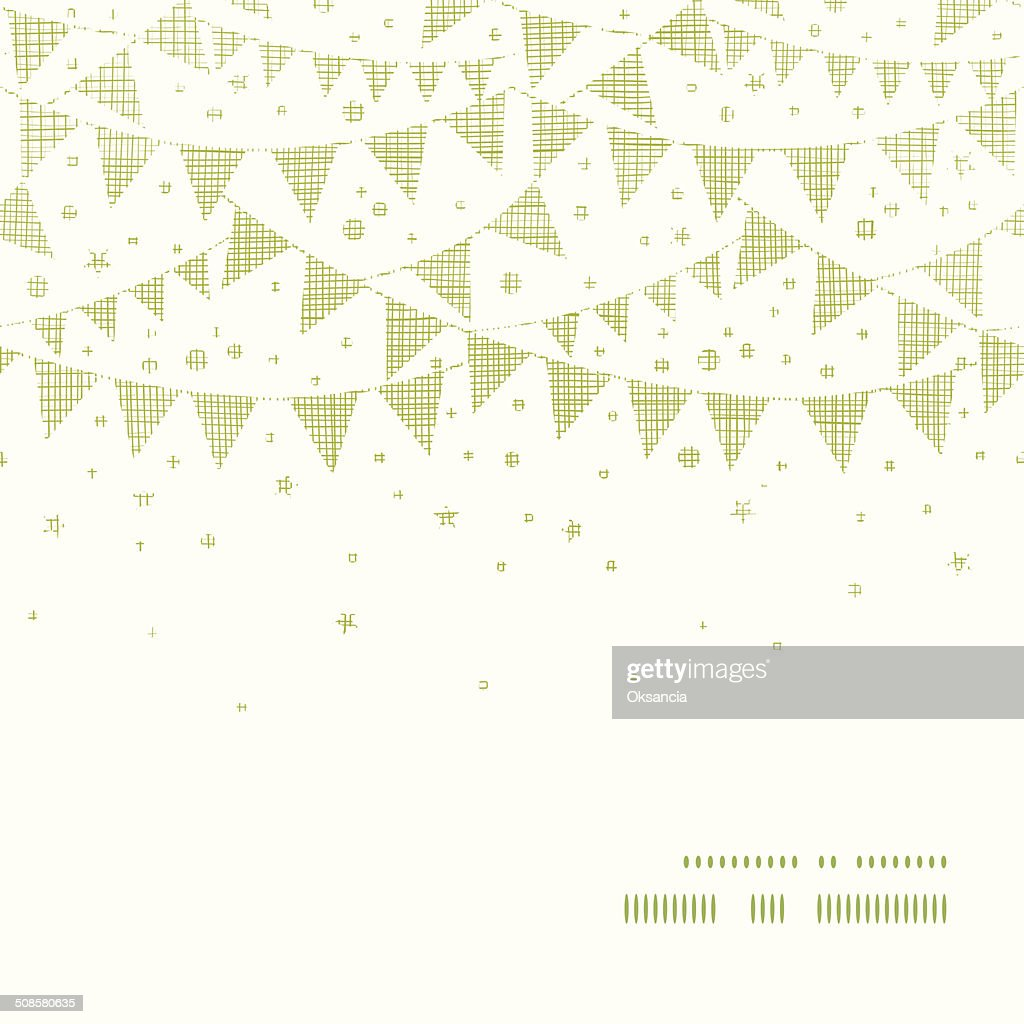 Green Textile Party Bunting Horizontal Frame Seamless Pattern Background : Vector Art