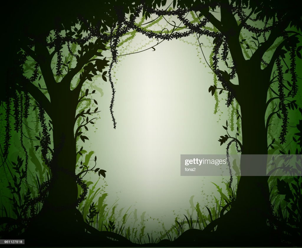 green thicket rain-forest, deep fairy forest silhouette,