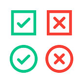 Green tick and red cross checkmarks in circle and square flat icons.