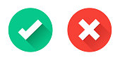 Green tick and red cross checkmarks in circle flat icons.