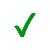 Green tick checkmark vector icon for checkbox marker symbol