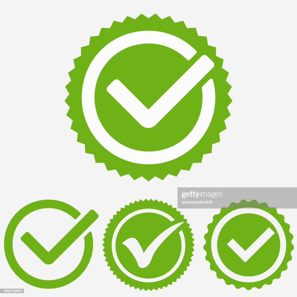 Green tick mark. Check mark icon. Tick sign. Green tick approval vector