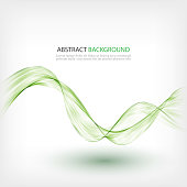 Green transparent lines on a white background.Abstract background smoke wave design Element
