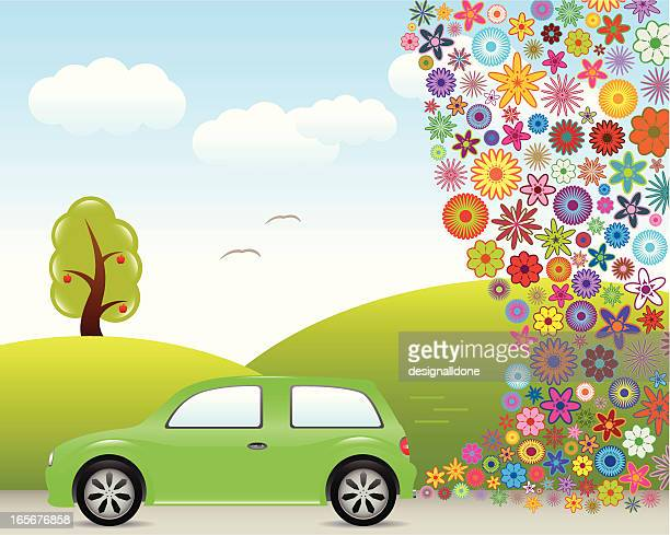 green transport - alternative fuel vehicle stock illustrations