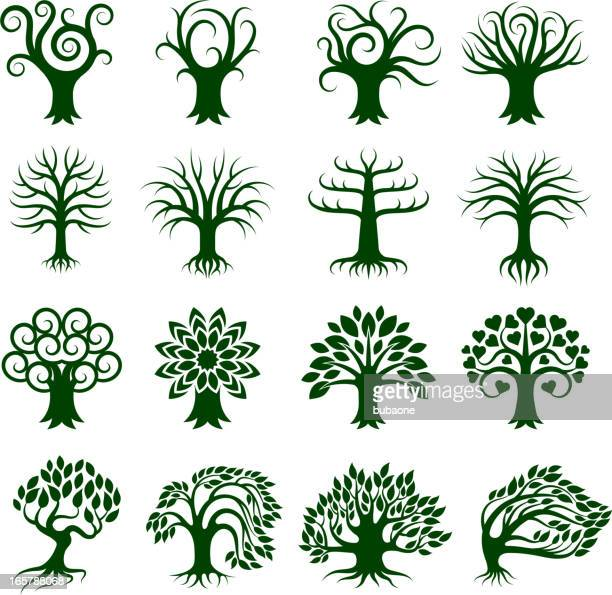 green tree collection royalty free vector icon set - deciduous tree stock illustrations, clip art, cartoons, & icons