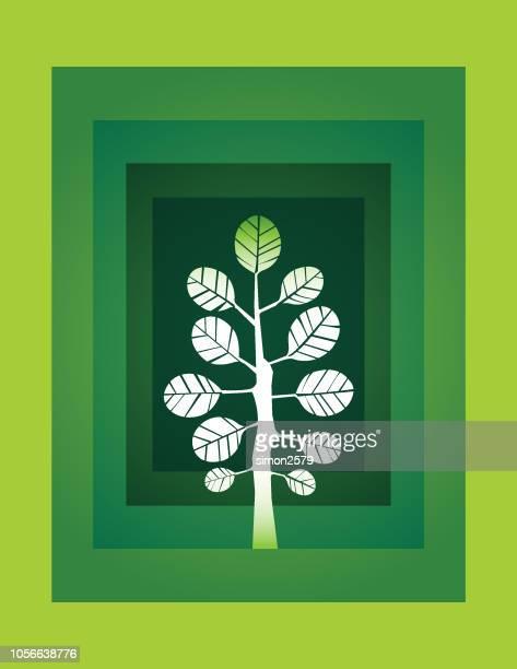 green tree flat design icon - landscaper professional stock illustrations, clip art, cartoons, & icons