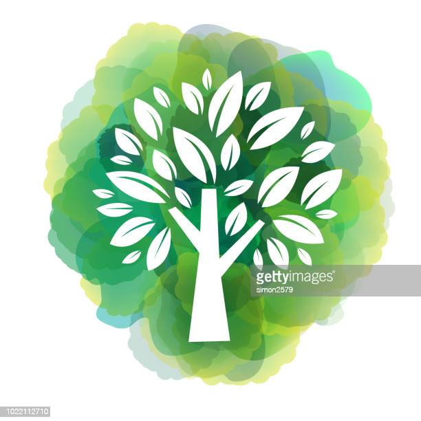 green tree icon on watercolor background - landscaper professional stock illustrations, clip art, cartoons, & icons