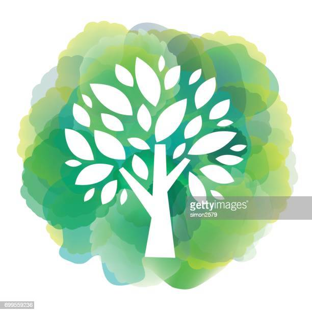 Green tree icon on watercolor background