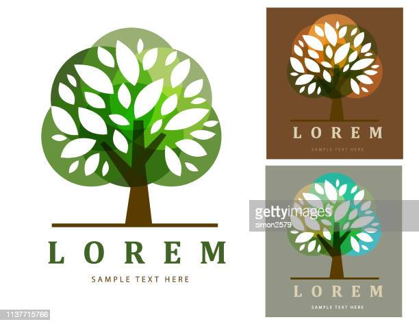 green tree symbol on color background - landscaper professional stock illustrations, clip art, cartoons, & icons