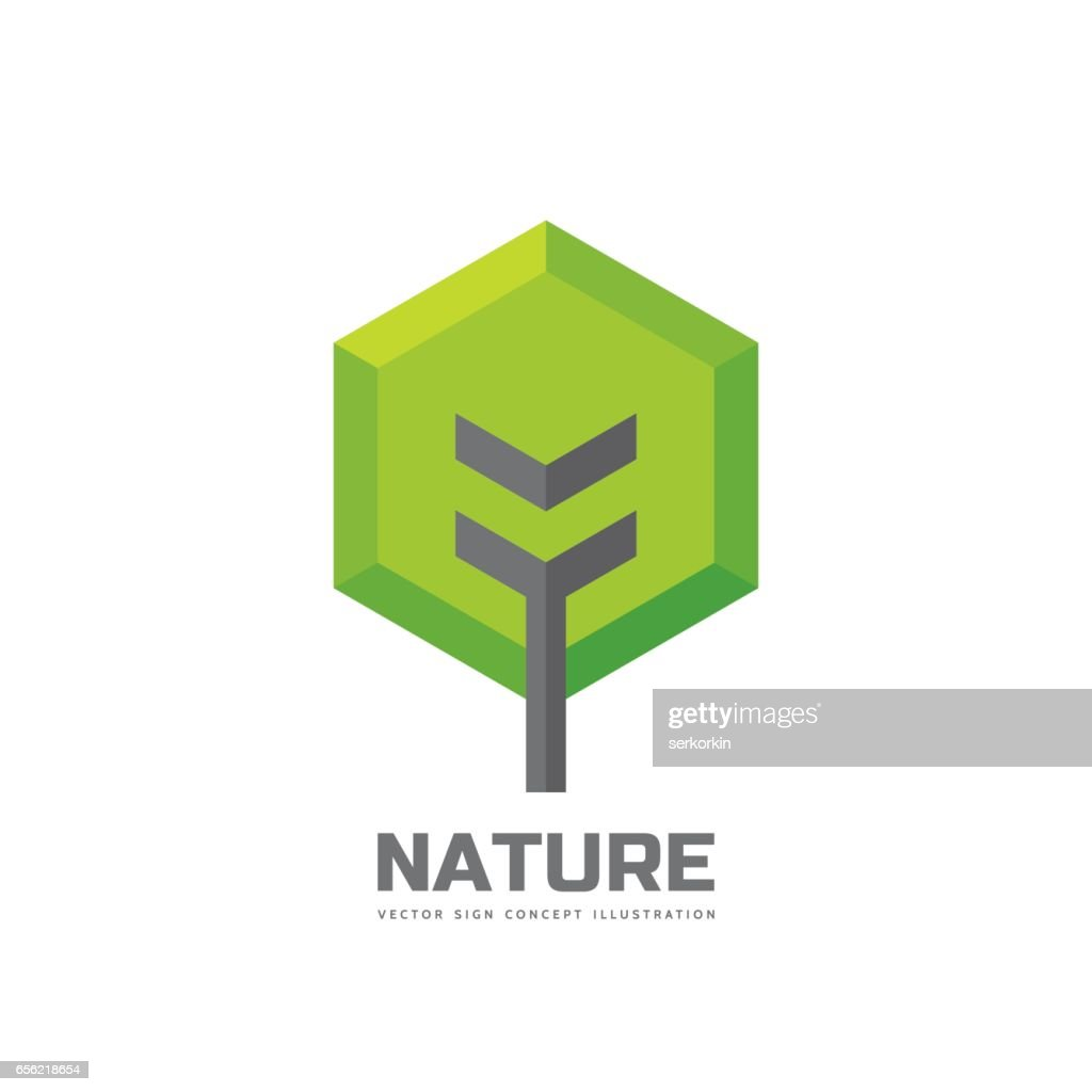 Green tree - vector business sign template concept illustration in flat style. Landscape forest creative sign. Nature symbol. Design element.