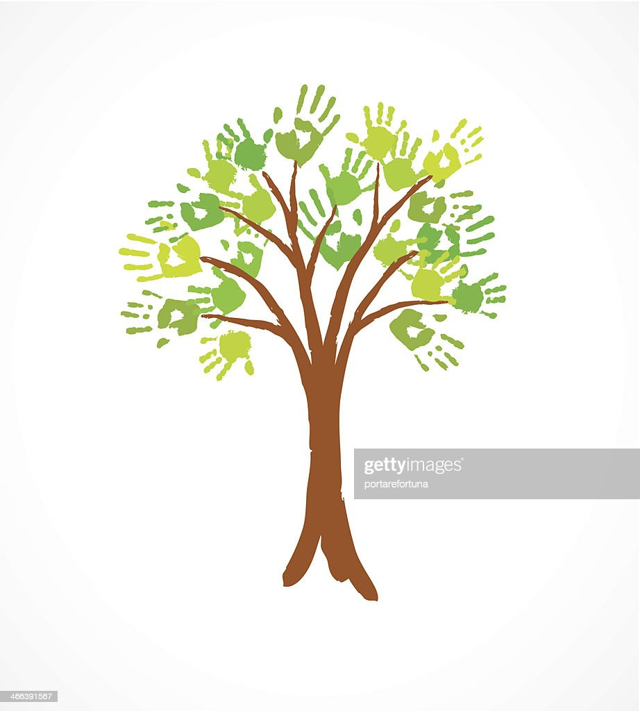 Green tree with leaves made of handprint