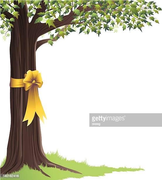 Green Tree Yellow Ribbon