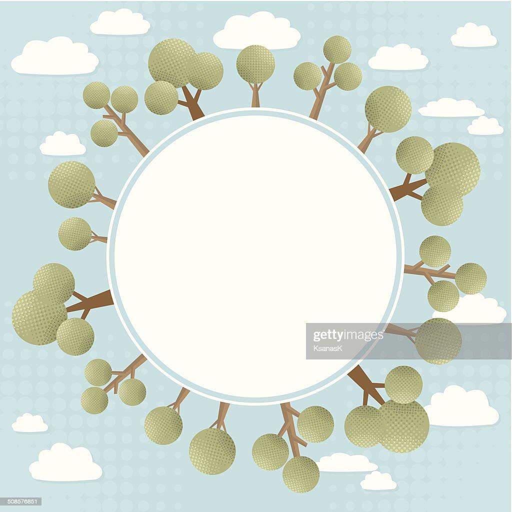 緑の木々のコンセプト円形のバナー : ベクトルアート