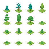 Green Trees Park Objects Set Icons 3d Isometric View. Vector