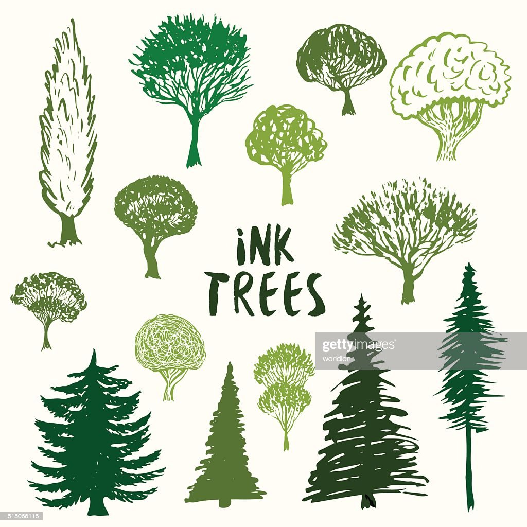 Green trees silhouette vector collection. Hand drawn sketches