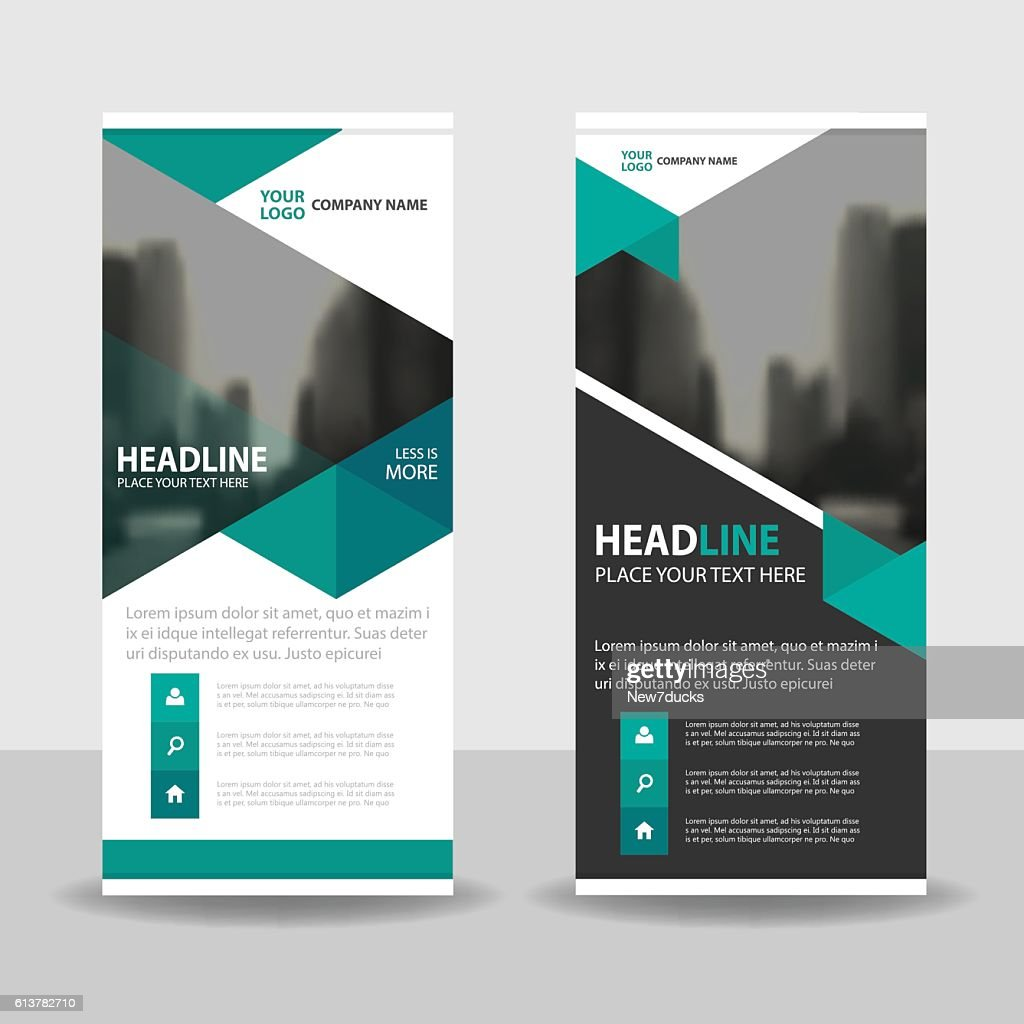 Green Triangle Business Roll Up Banner flat design template Abstract