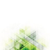 Green triangles design. Abstract vector background with geometric pattern.