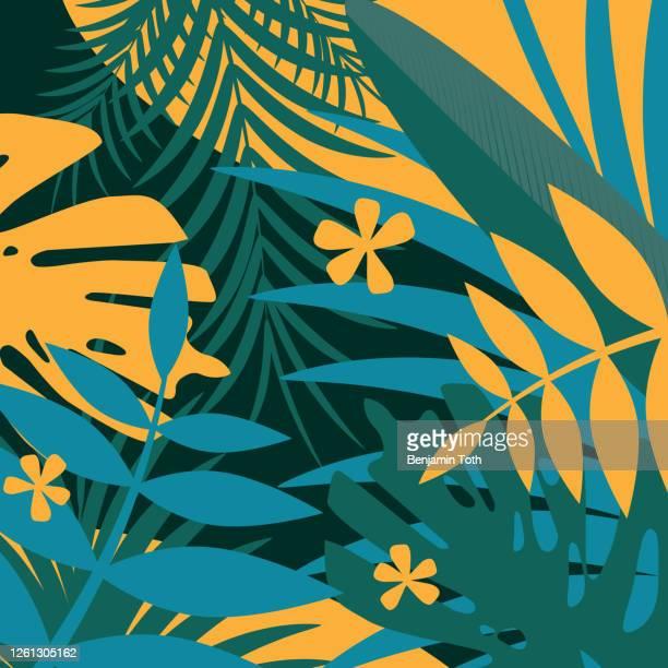 暗い背景に緑の熱帯花のバナー - ユーカリの木点のイラスト素材/クリップアート素材/マンガ素材/アイコン素材
